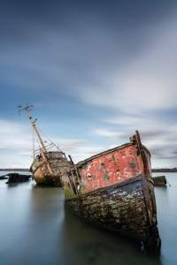 Long exposure of derelict boats at Pin Mill shot with the Sony FE 20mm f/1.8