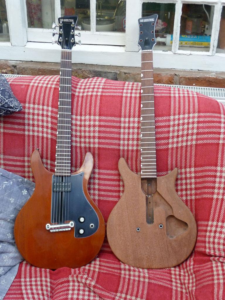 hight resolution of a brace of dan armstrong london guitars