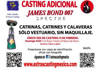 """Seleção de figurantes para gravações de """"SPECTRE"""" no México © Extra Casting Mexico"""