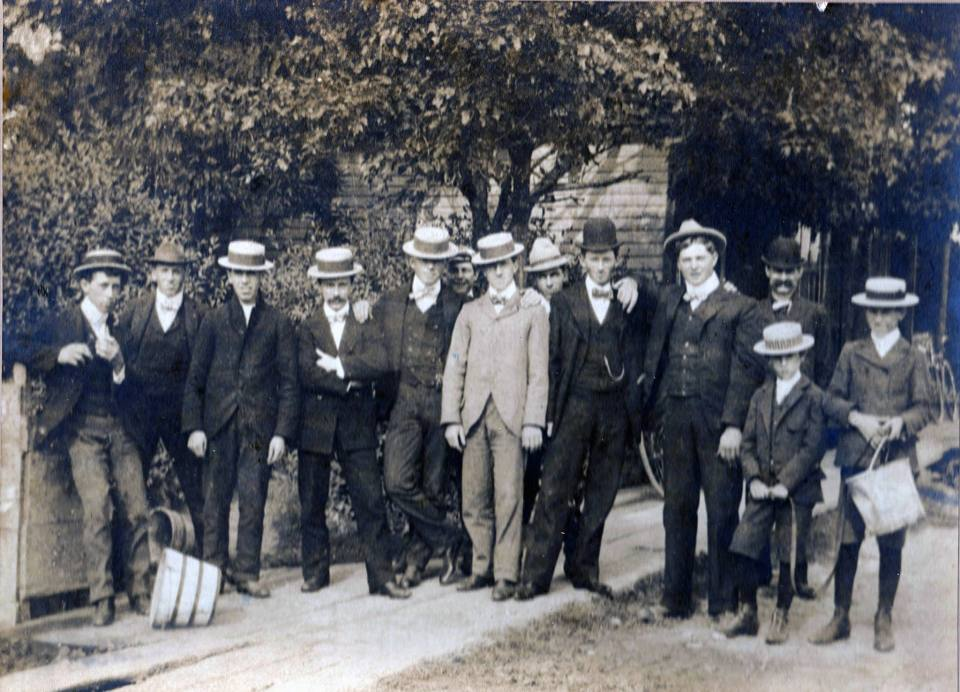 L to R: Walter Baker, Charles Climenhage, Victor Rogers, Ivy Climenhage, Gus Weiss, Israel Dean, Roy Detenbeck, George House, Lee Climenhage, Aquilla Beam, Duke Gilmour, Ernest Baker, Frank Romance. Thanks to Terry Gilmour and Christine Craig for the photo.