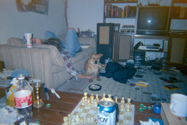 Kevin, Tucker, and my filthy apartment, circa 2001.
