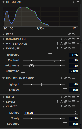 Capture One Pro 8 Adjustments panel