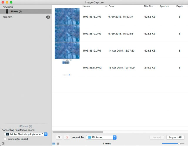 Image Capture Import Screen ©JamesECockroft-20150415