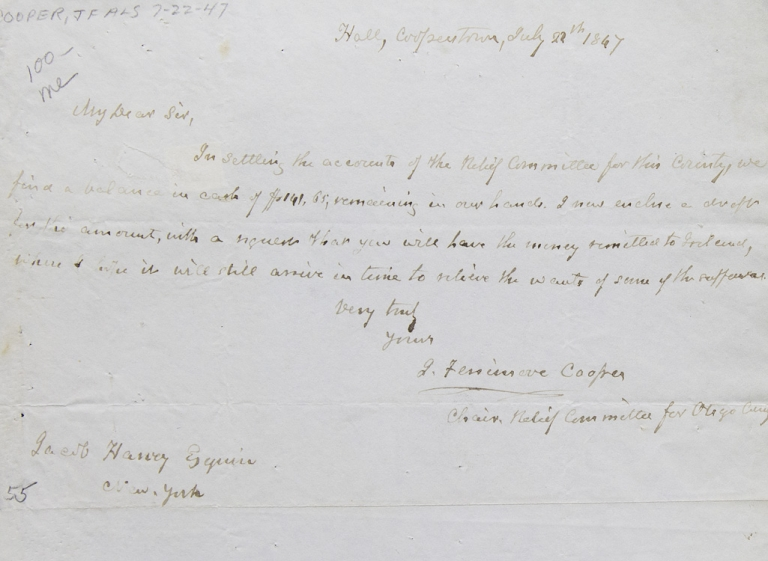 Autograph Letter Signed J. Fenimore Cooper as Chairman of