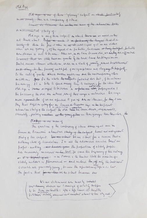 """Autograph Manuscript of """"Old Age"""", his review of Simone de"""