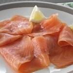 Sliced smoked salmon