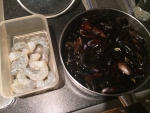 Mussels and king prawns