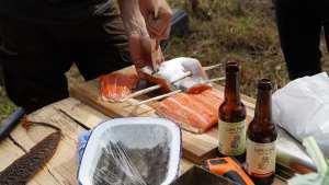 skewering the sea trout
