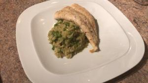 Halibut and pea risotto