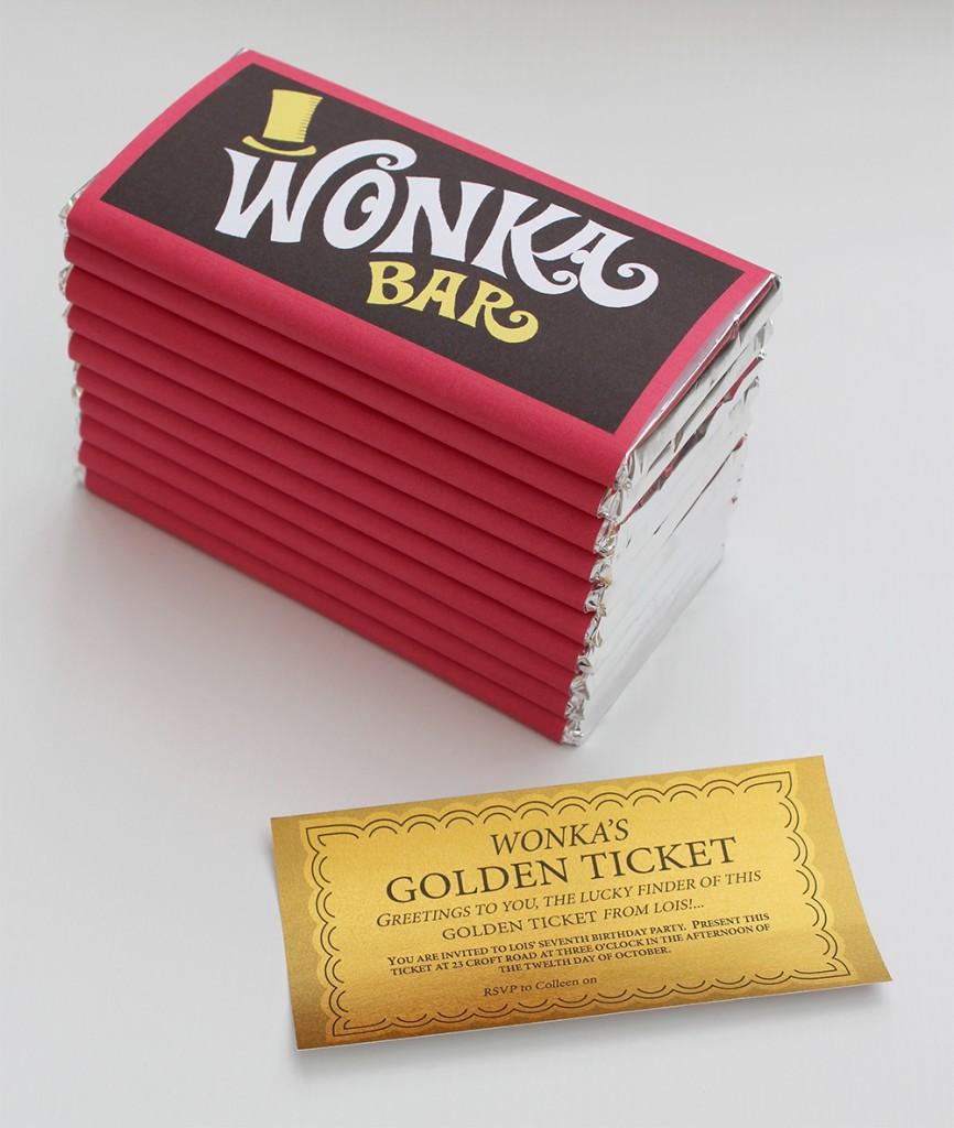 Wonka Bar Golden Ticket Invitation