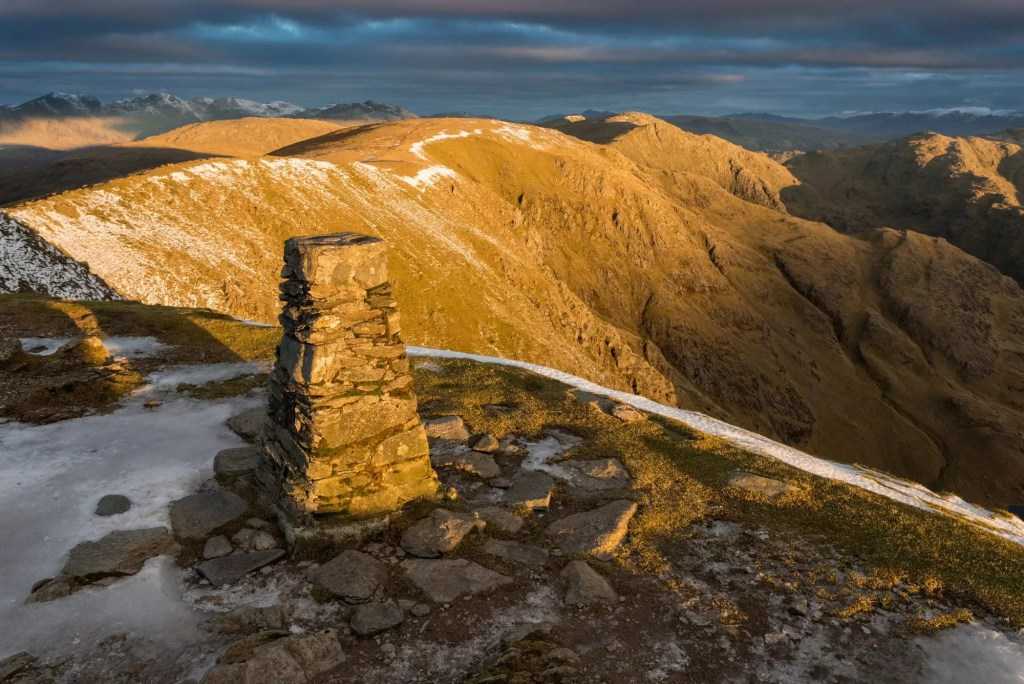 Old Man of Coniston Trig Point Sunrise - Lake District Photography Workshops