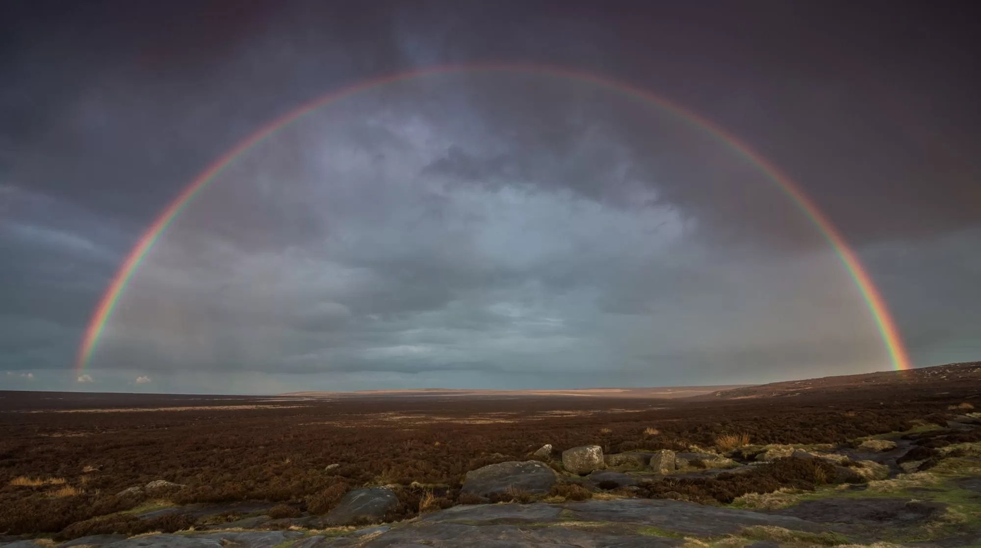 Stanage Edge Rainbow  - Peak District Photography