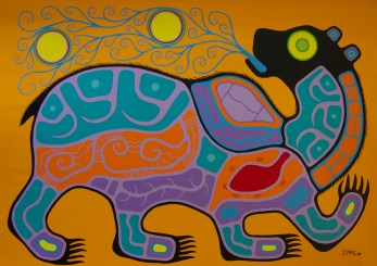 """""""Bear Breathing Portals"""" Acrylic on canvas 54"""" x 72"""" unstretched"""