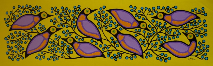 """""""Starling's and Blueberries #2"""" Acrylic on canvas 24"""" x 72"""" unstretched"""