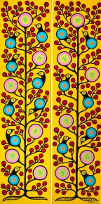 """""""Birds and Cherries 3 & 4"""" Diptych Acrylic on canvas 48"""" x 24"""" stretched"""