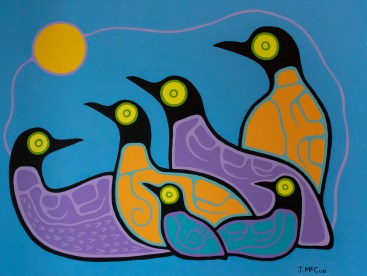 """""""Moonlit Loons"""" Acrylic on canvas 30"""" x 40"""" stretched"""