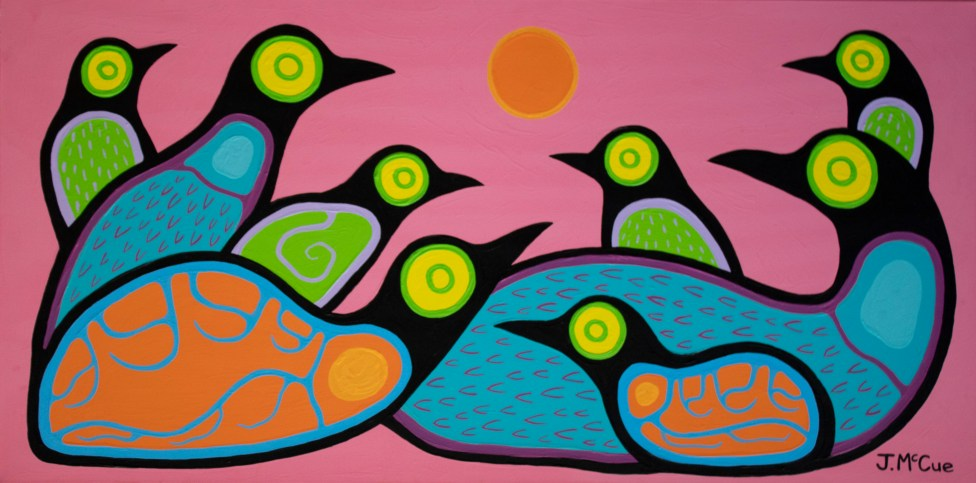 """Roosting"" Acrylic on canvas 18"" x 36"" stretched"