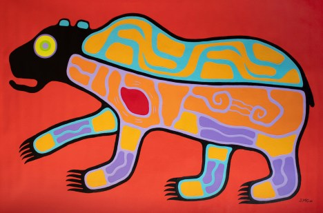 """Brown Bear on Red"" Acrylic on canvas 51"" x 72"" unstretched"
