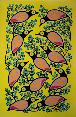 """""""Tweeting"""" Acrylic on canvas 55"""" x 36"""" unstretched"""