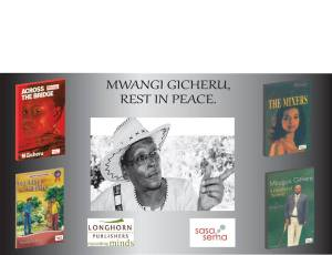 Mwangi Gicheru and some of his books Photo/Longhorn Publishers Facebook