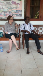 Caine Prize's Lizzy Attree with Ghanaian poet and novelist Kojo Laing