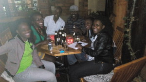 Drinking: The people in this picture are pleased it is so blurry.