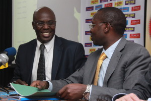 Author Ken Walibora with Spotlight publisher managing director Simon Sossion when the prize was announced