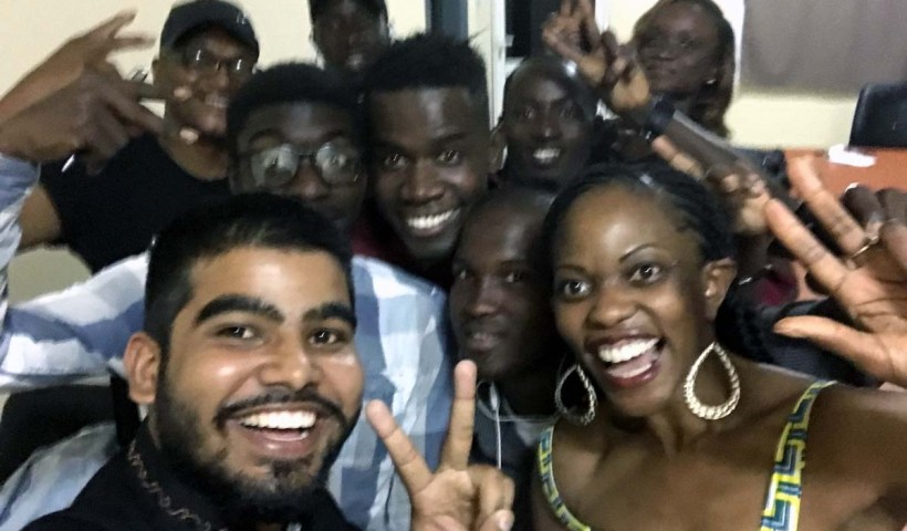SABLE Poet-in-Residence, Patricia Foster with members of The Clouds Poetry Collective in The Gambia
