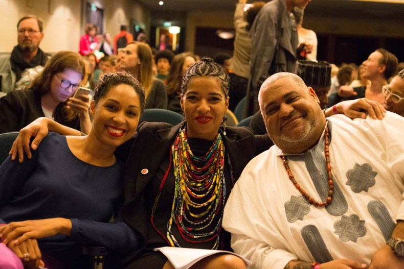 Olumide Popoola (centre), headliner Chris Abani (right)