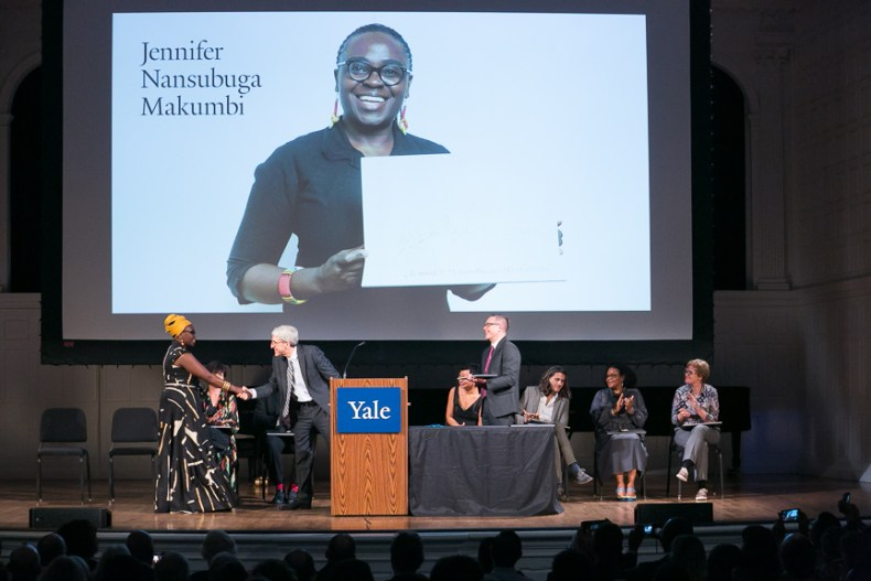 Jennifer Nansubuga Makumbi meets Peter Salovey, President of Yale. Photo/Beowulf Sheehan