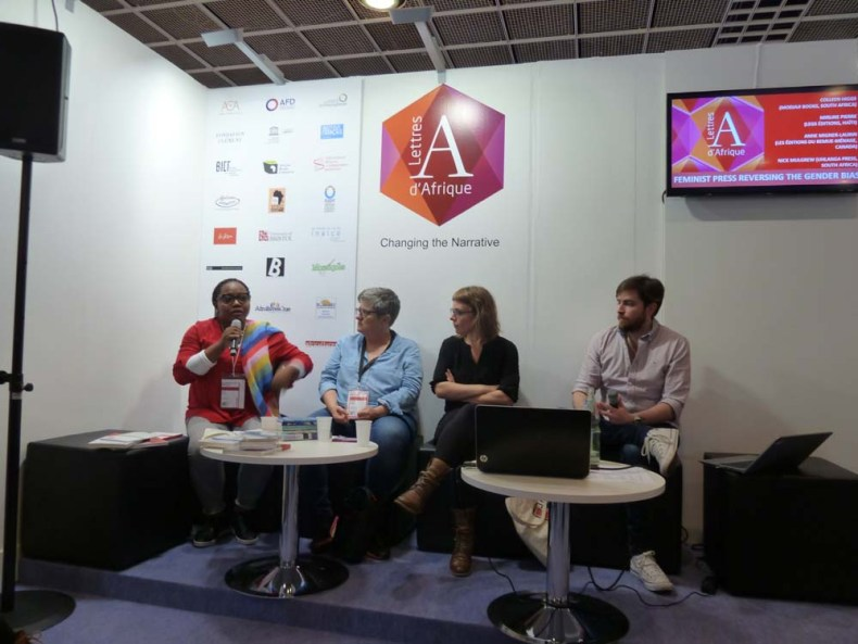 Maly Diallo, Colleen Higgs (Modjaji Books, South Africa), Anne Migner-Laurin (Les Éditions du remue-ménage, Canada), and Nick Mulgrew (Uhlanga Press). Photo/Raphaël Thierry