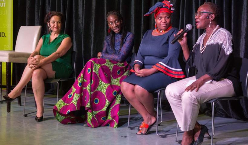 Shan Bartley, Yewande Omotoso, Zukiswa Wanner, and Sitawa Namwalie. Photo/Julian Manjahi, Goethe Institut.