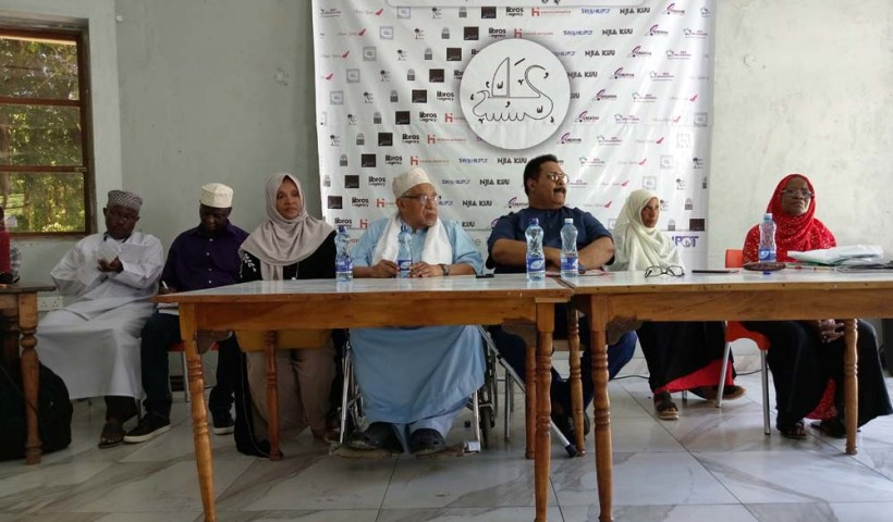Swahili Literary Festival 2019 final panel: Hassan Makombo, Khalid Kitito, Prof Mohamed Hyder, Prof Mohamed Khalil, and Mama Amira Msellem.