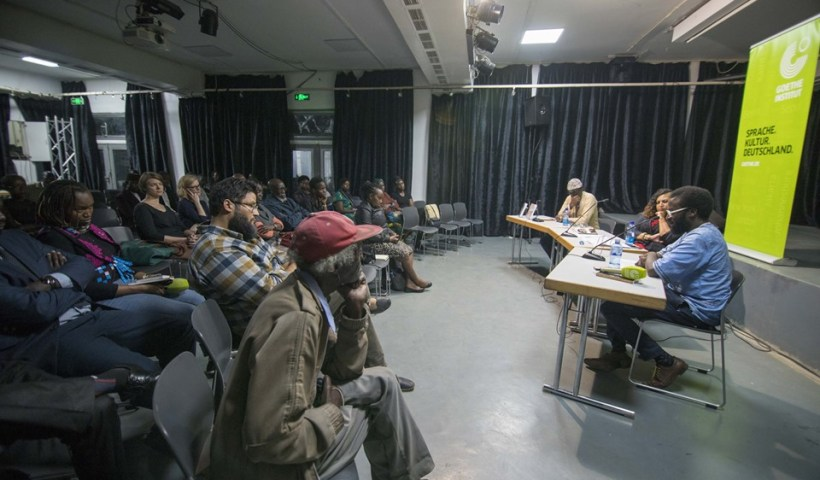 Literary crossroads with Adipo Sidang Aleya Kassam and Mugabi Byenkya. Photo/Wamwiri Kimachia