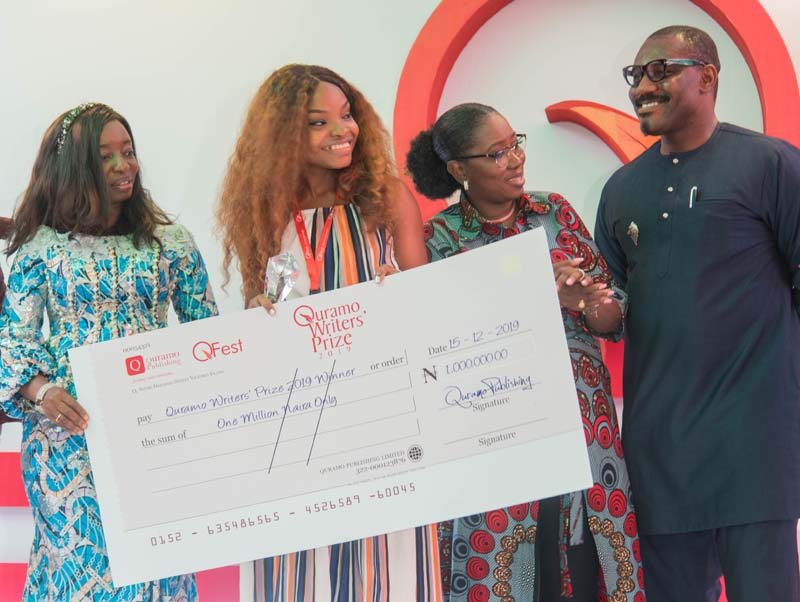 Ibironke Sanwo-olu, Lagos state first lady presents the cheque of N1m to Vivian Onyekachi Ibe, with Gbemi Shasore, and Toni Kan