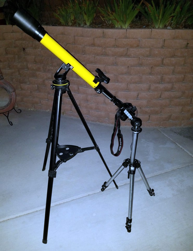 The dual tripod setup from my first imaging attempt.