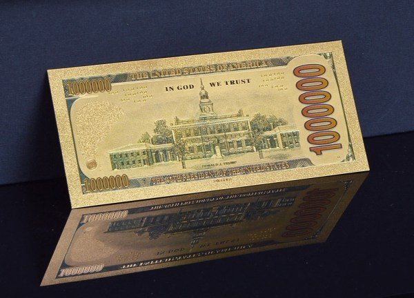 One Million Dollar Denomination 24K Gold Commemorative Trump Bank Note