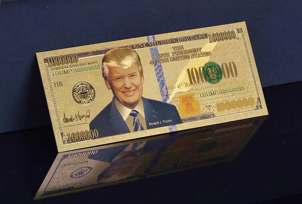 One Million Dollar Denomination 24K Gold Commemorative Trump Bank Note