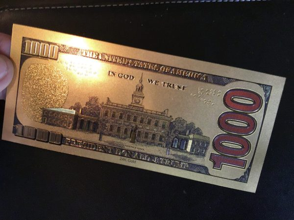$1,000 DENOMINATION 24K GOLD 'TRUMP 2020' BANK NOTES w/ 24K Gold Certificate Of Authenticity Stamp On Rear of Note