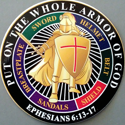 WHOLE ARMOR OF GOD STICKERS Put on the Whole Armor of God with these amazing, high quality vinyl stickers!   Perfect for yourself, or for gifts - makes great Bible Study Member gifts! 3.5 in Round, High Quality Vinyl Stickers  w/ Free Shipping