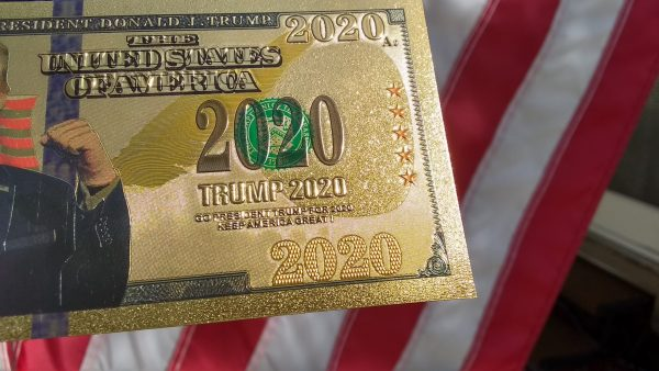 AUTHENTIC 24K GOLD TRUMP 2020 BANK NOTE w/ Certificate Of Authenticity Stamp On Rear of Note