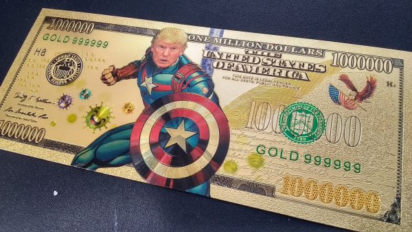 AUTHENTIC 24K GOLD CAPTAIN AMERICA TRUMP 2020 BANK NOTE w/ Certificate Of Authenticity Stamp On Rear of Note - NEW ITEM!