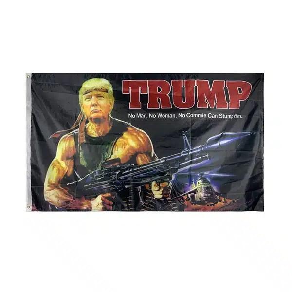 3x5 Feet President Donald Trump Flag - Rambo Trump Flag Banner w/ Grommets