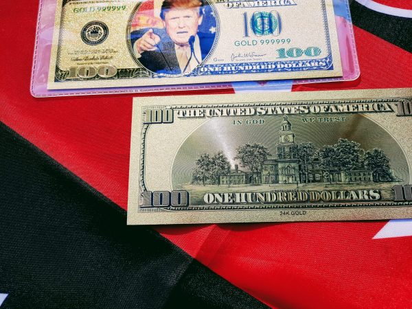 DELUXE AUTHENTIC 24K GOLD DONALD TRUMP $100 BANKNOTE w/ COA SLEEVE