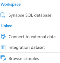 Workspace  Synapse SQL database  Linked  Connect to external data  Integration dataset  Browse samples