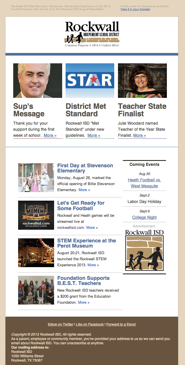 Rockwall ISD Email Newsletter