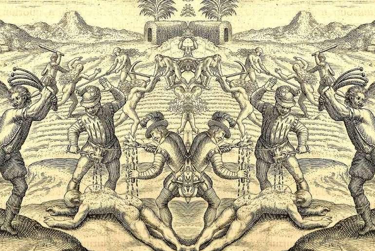 Conquistadors' abuses of Amerindians (1598 edition for las Casas' book