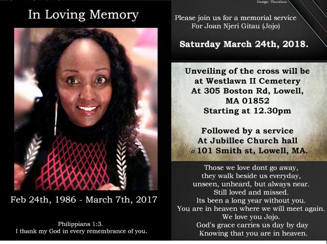In Loving Memory Of Joan Njeri Gitau (Jojo) -Unveiling Of The Cross