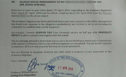 Kenyan female student exposes rogue Makerere University lecturer who sexually harassed her