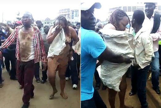 Angry mob strips suspected female con artist in Embu